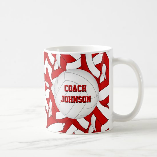 red and white volleyball team colors coach gift coffee mug
