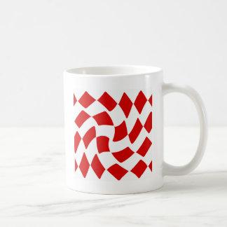 Red and White Warp Checkerboard Coffee Mug