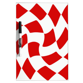 Red and White Warp Checkerboard Dry-Erase Board