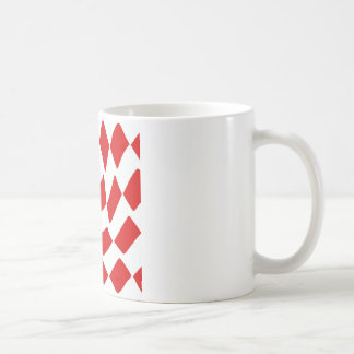 Red and White Warp Checkerboard Coffee Mugs