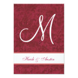 Red and White Watercolor Damask Wedding G208 Personalized Announcement
