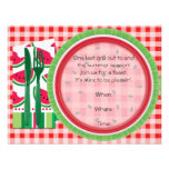 Red and White Watermelon Picnic Table Setting Custom Invitations