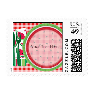 Red and White Watermelon Table Setting Postage Stamp