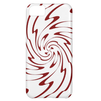 Red and White Wave Swirl Decorative Art Case For iPhone 5C