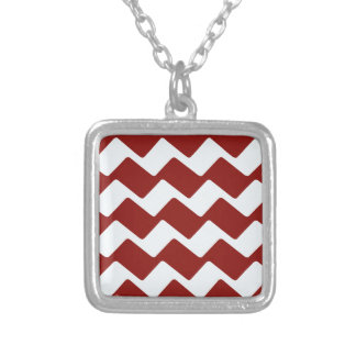 Red and White Wavy Chevrons Silver Plated Necklace