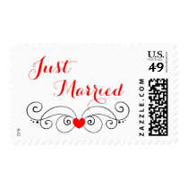 Red And White Wedding Announcement Heart Love Postage