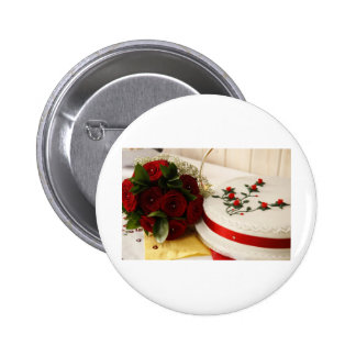 Red and White Wedding Cake Button