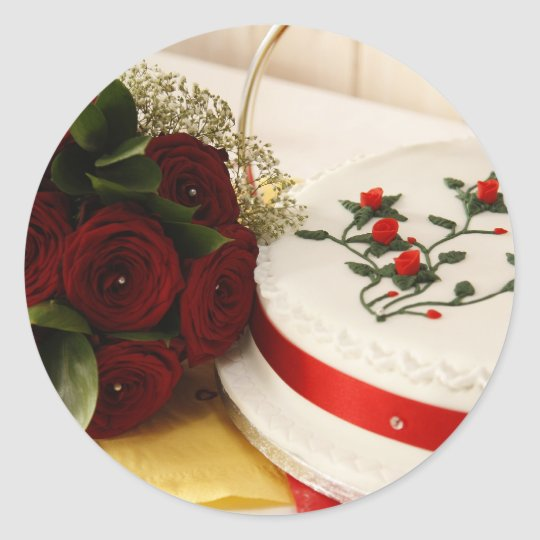 Red and White Wedding Cake Classic Round Sticker