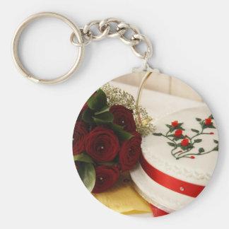 Red and White Wedding Cake Keychain