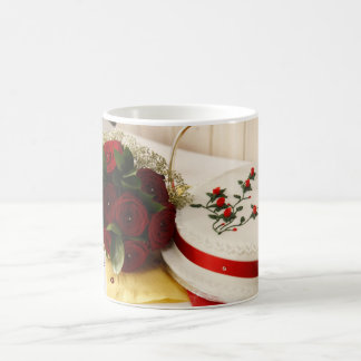 Red and White Wedding Cake Mugs