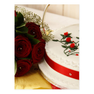 Red and White Wedding Cake Postcard