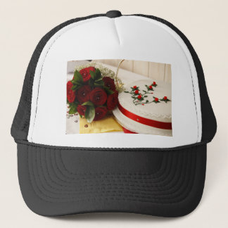 Red and White Wedding Cake Trucker Hat