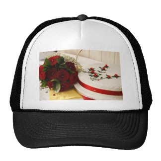 Red and White Wedding Cake Trucker Hat