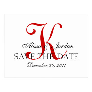 Red and White Wedding Monogram Announcement Card