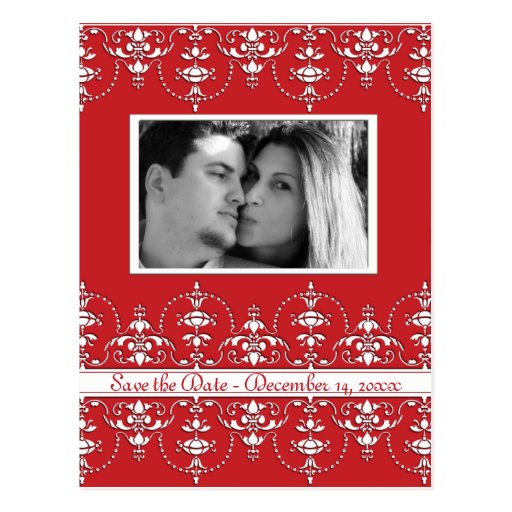 Red and White Wedding Victorian save date photo Postcard