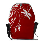 Red and White Whimsical Dragonfly Courier Bags