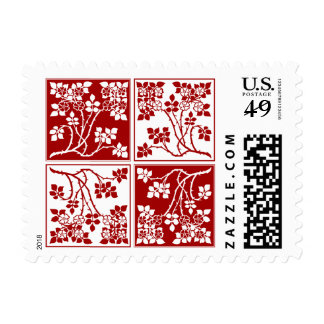 Red and White Wild Flower Square Block Tiled Postage