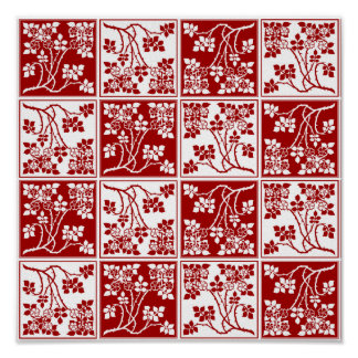 Red and White Wild Flower Square Block Tiled Poster