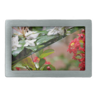 Red and white wild flowers are growing together belt buckle