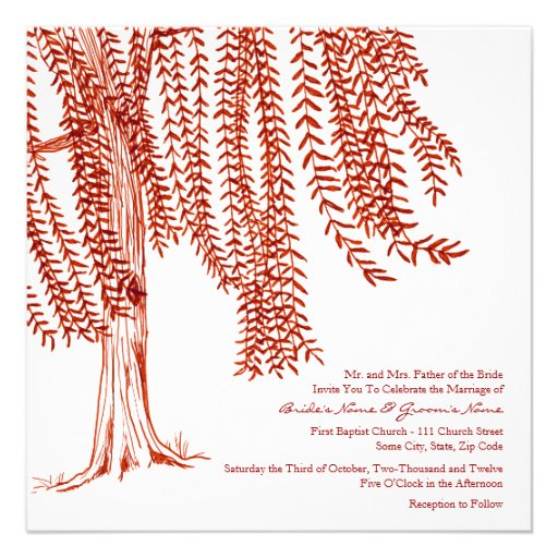 Red and White Willow Tree Wedding Invitation