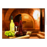 Red and White Wine in the Cellar Cards