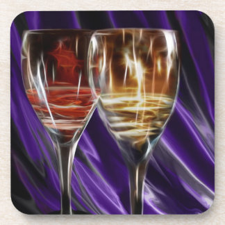 Red and white wine in wine glasses drink coaster