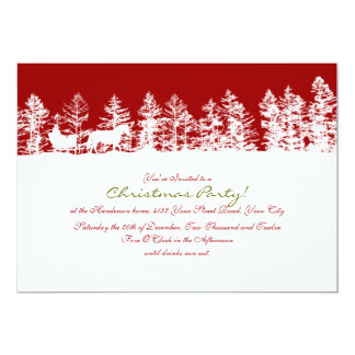 Red and White Winter Christmas Party Card