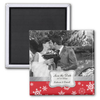 Red and White Winter Snowflakes Save the Date Magnet