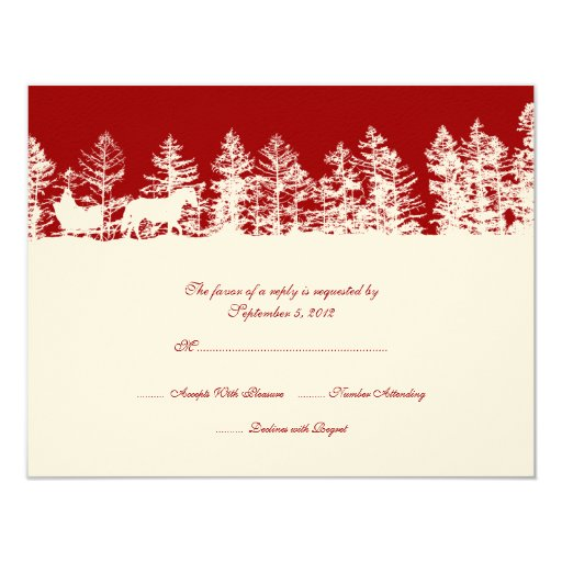 Red and White Winter Wedding RSVP 4.25x5.5 Paper Invitation Card