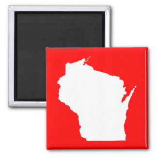 Red and White Wisconsin 2 Inch Square Magnet