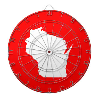 Red and White Wisconsin Dartboard With Darts
