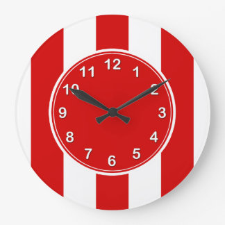 Red and White XL Stripes Pattern Large Clock