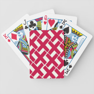 Red and White Xs Bicycle Playing Cards