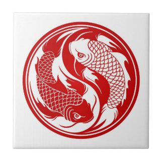 Red and White Yin Yang Koi Fish Tile