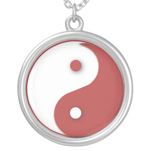 Red and White Yin & Yang Round Pendant Necklace