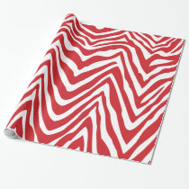Red and White Zebra Stripes Animal Print Wrapping Paper