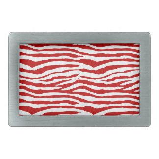 Red and White Zebra Stripes Rectangular Belt Buckles