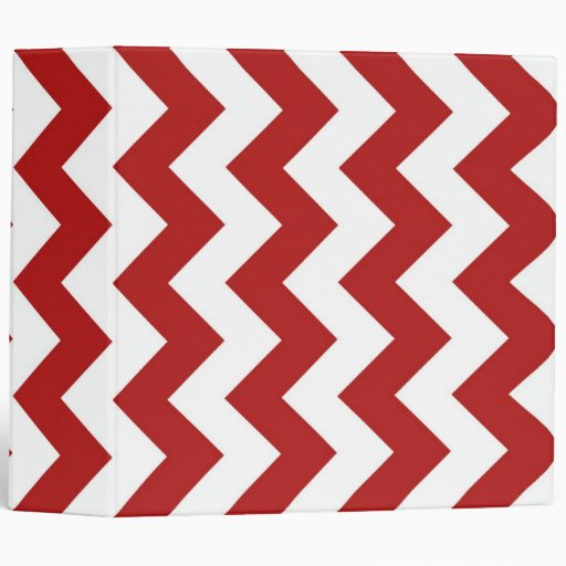 Red and White Zigzag 3 Ring Binders