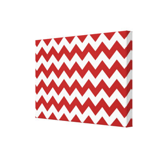 Red and White Zigzag Canvas Print