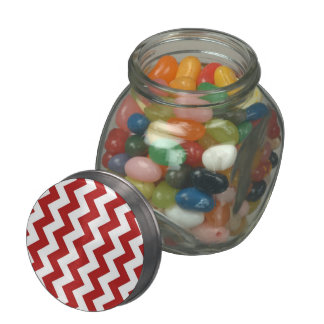 Red and White Zigzag Jelly Belly Candy Jar