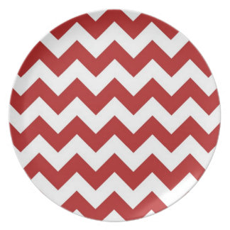 Red and White Zigzag Dinner Plates