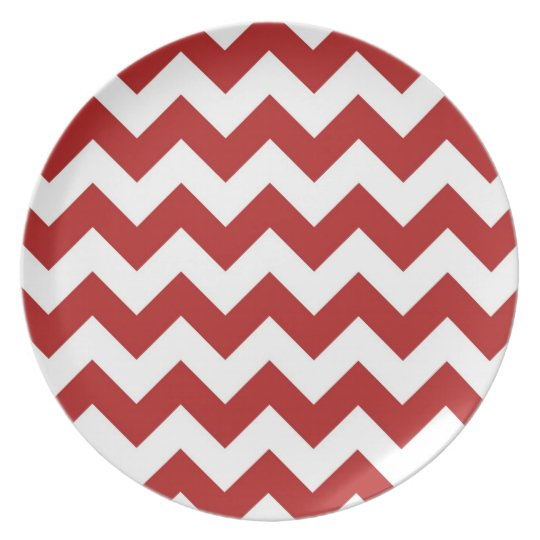Red and White Zigzag Plate