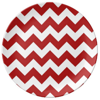 Red and White Zigzag Porcelain Plate