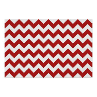 Red and White Zigzag Poster