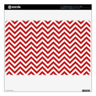 """Red and White Zigzag Stripes Chevron Pattern 11"""" MacBook Air Decal"""