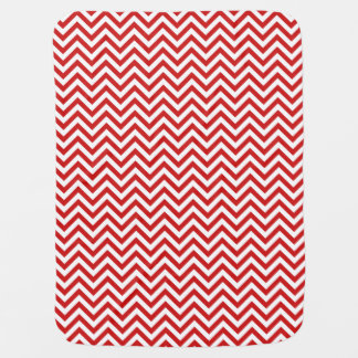 Red and White Zigzag Stripes Chevron Pattern Baby Blanket