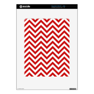 Red and White Zigzag Stripes Chevron Pattern Decals For The iPad