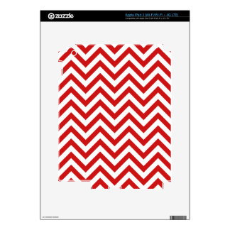Red and White Zigzag Stripes Chevron Pattern iPad 3 Decals