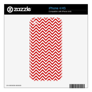 Red and White Zigzag Stripes Chevron Pattern iPhone 4 Decal