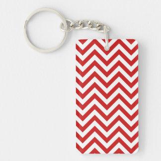Red and White Zigzag Stripes Chevron Pattern Keychain